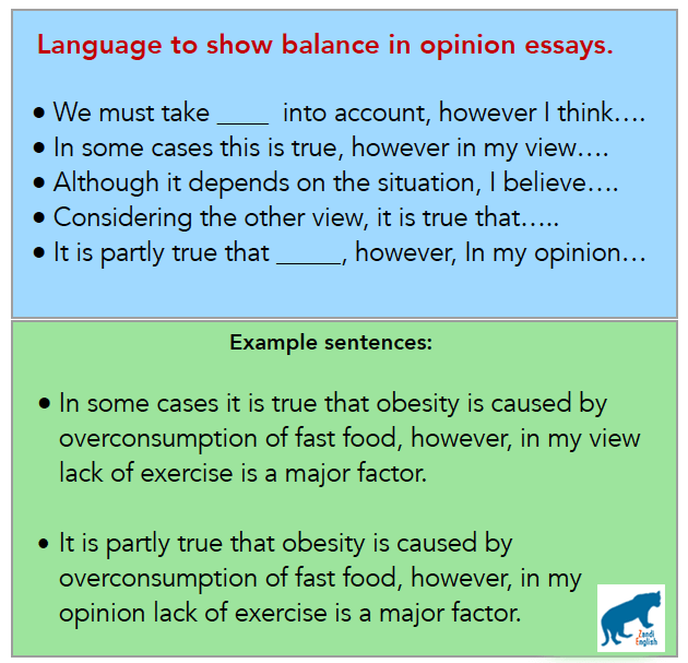 تمرین برای نشان دادن نظر متعادل در رایتینگ آیلتس